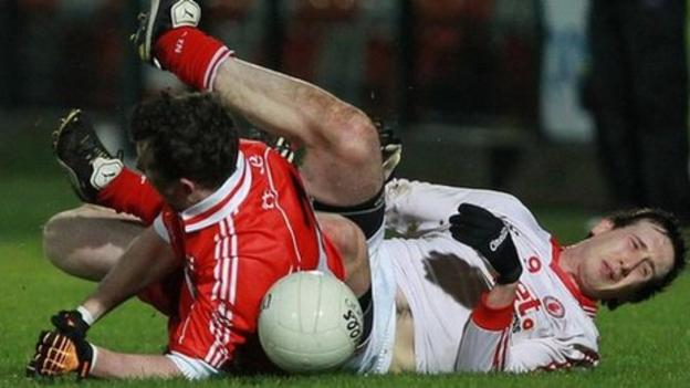 This tangle between Barry McGoldrick and Colm Cavanagh led to the Tyrone player being stretchered off