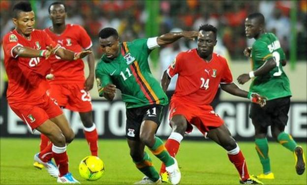 Zambia captain Chris Katongo (with white armband) won the game