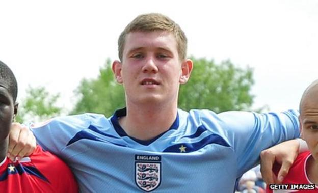 Jed Steer lines up for England's Under-17 team in 2009