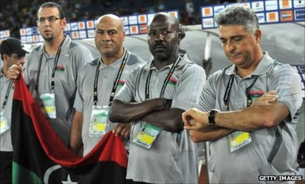 Libya coach Marcos Paqueta (right) with his coaching staff