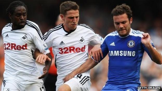 Swansea's Nathan Dyer and Joe Allen chase Chelsea's Juan Mata during September's meeting at Stamford Bridge