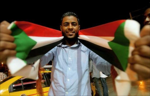 A Sudan fan on the streets of the capital Khartoum