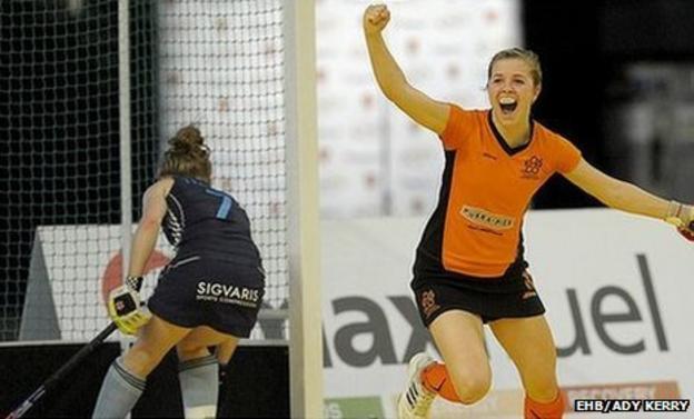 Lauren Turner celebrates her winning goal