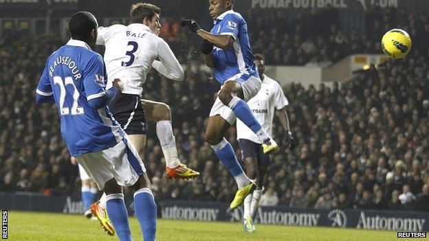 Gareth Bale scores Tottenham's first goal