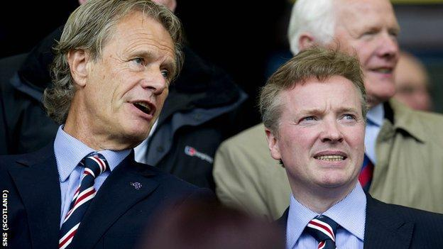 Former Rangers chairman Alastair Johnston in conversation with Craig Whyte
