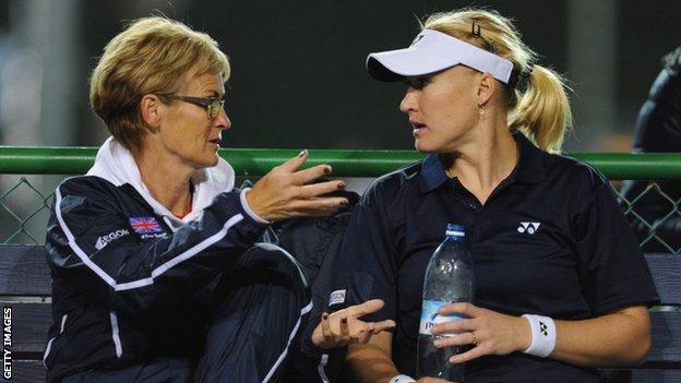 Captain Judy Murray (left) and Elena Baltacha