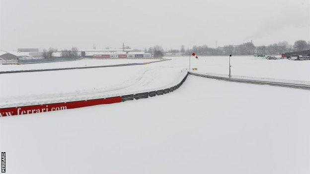 Heavy snow at the Ferrari base in Maranello, Italy
