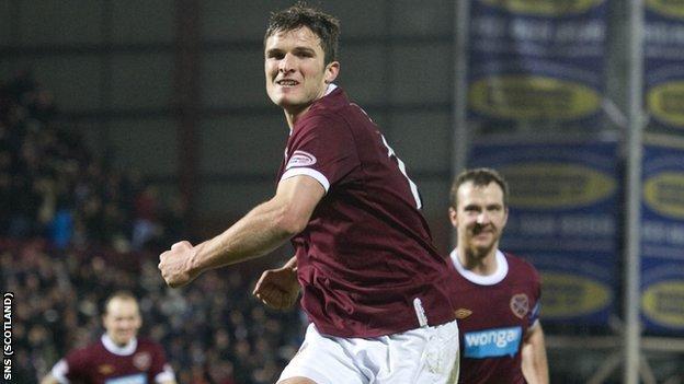 Sutton has scored three goals this season for Hearts
