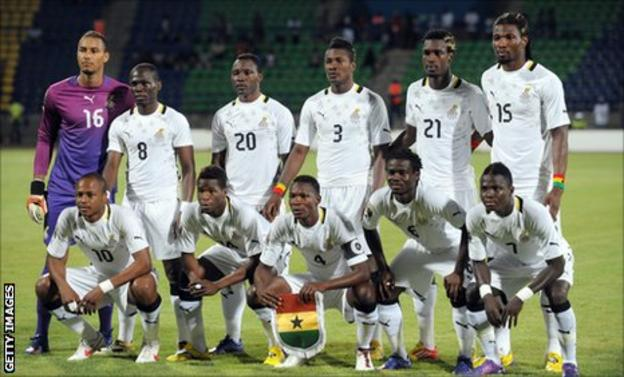 Ghana's Black Stars line up to play Guinea in their final Group D game of the 2012 Africa Cup of Nations