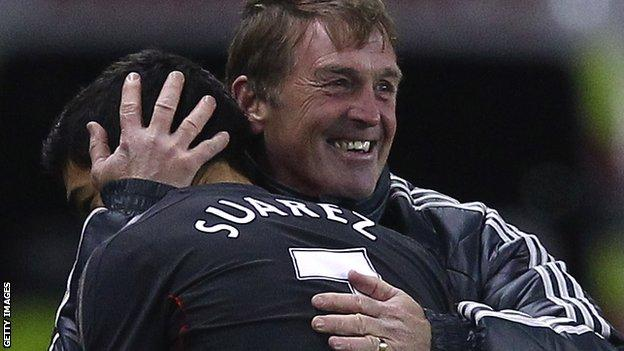 Kenny Dalglish hugs Luis Suarez
