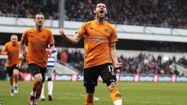 Wolves' Matt Jarvis celebrates scoring