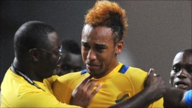 Pierre-Emerick Aubameyang is disconsolate after his penalty shoot-out miss