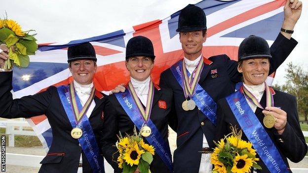 Tina Cook (second left) won team gold with Great Britain at the World Equestrian Games in 2010