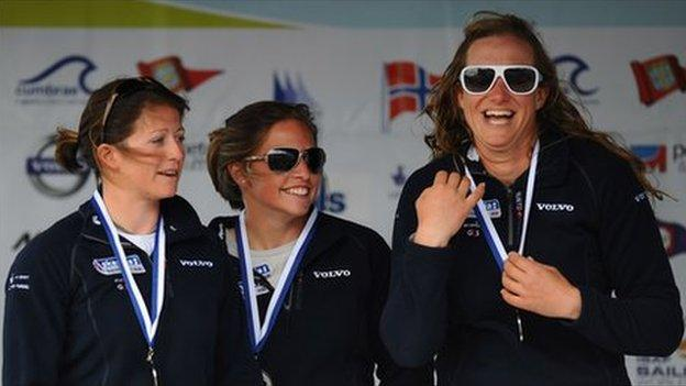 Lucy Macgregor, left, with team-mates Kate Macgregor and Annie Lush