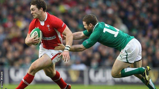 George North in action against Ireland