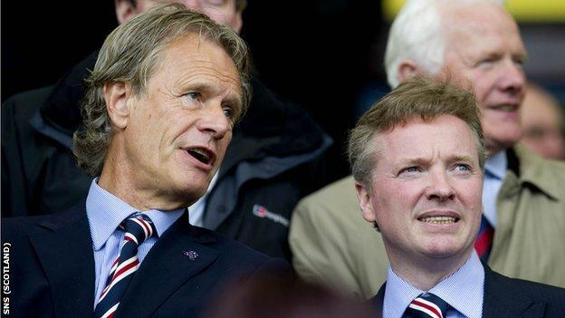 Former chairman Alastair Johnston and new club owner Craig Whyte