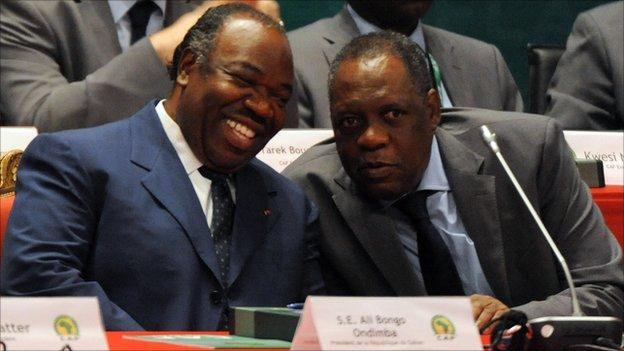 President of Gabon, Ali Bongo, and Issa Hayatou, Confederation of African Football president (right)