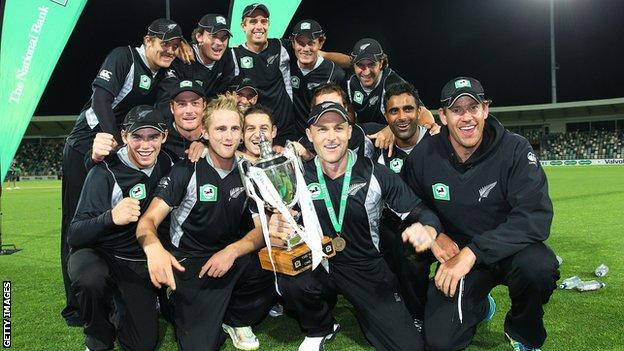 New Zealand with the one-day series trophy