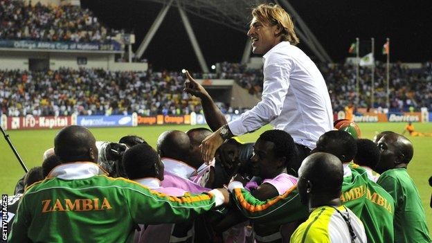 Zambia coach Herve Renard is hoisted aloft by his players after winning the Africa Cup of Nations