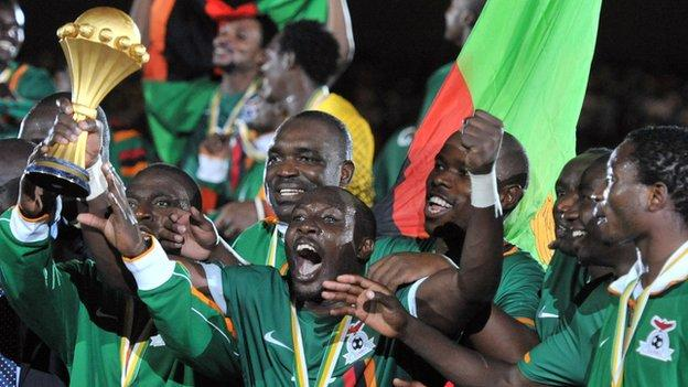 Zambia players celebrate winning their first Nations Cup trophy in Libreville on Sunday