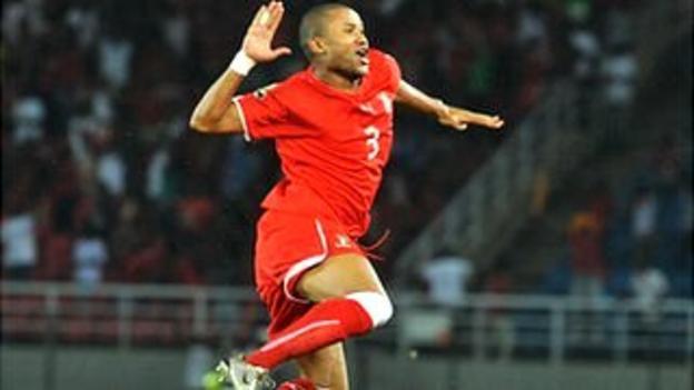 "David ""Kily"" Alvarez celebrates scoring for Equatorial Guinea against Senegal"