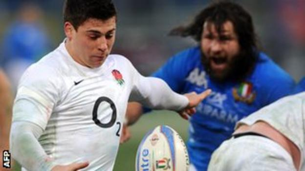 England scrum-Half Ben Youngs clears the ball in front of Italy's prop Martin Castrogiovanni