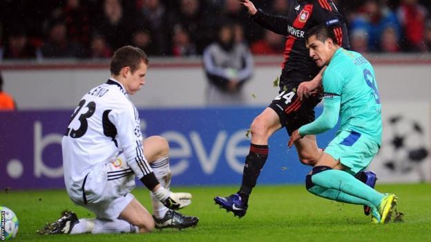 Alexis Sanchez (right) scores for Barcelona