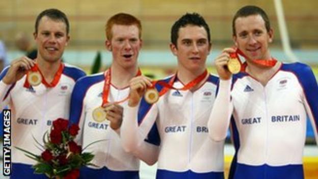 Paul Manning, Ed Clancy, Geraint Thomas and Bradley Wiggins