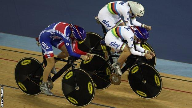 Laura Trott, Wendy Houvenaghel and Joanna Rowsell