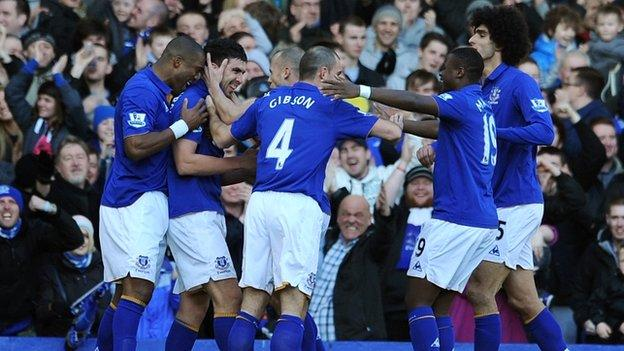 Everton celebrate taking a 2-0 lead against Blackpool