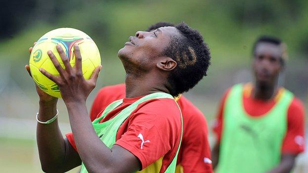 Asamoah Gyan in training for Ghana during the Africa Cup of Nations