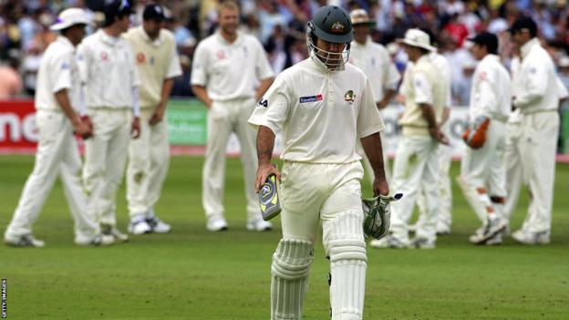 Ricky Ponting walks off after being run out by substitute fielder Gary Pratt at Trent Bridge