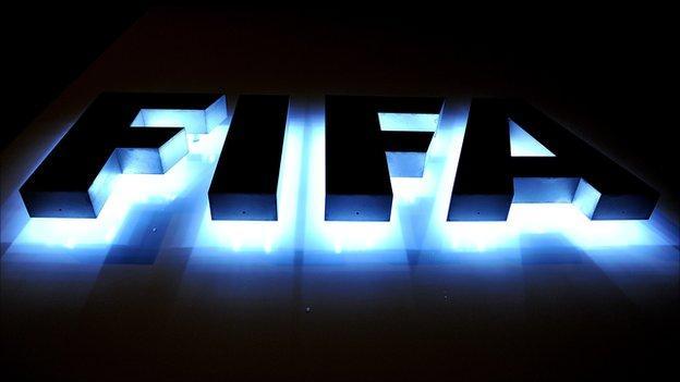 The Fifa logo outside Fifa headquarters in Switzerland