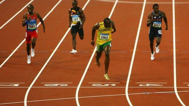 Usain_Bolt win 100m final at Beijing 2008