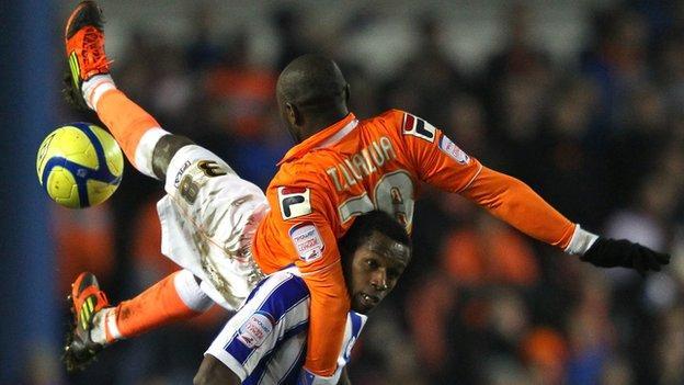 Lomana LuaLua in action for Blackpool