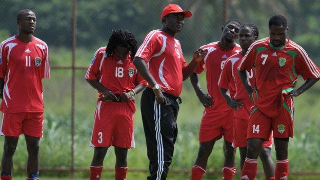 Malawi coach Kinnah Phiri leading training