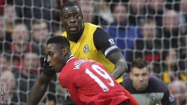 Chris Samba featuring for Blackburn Rovers against Manchester United