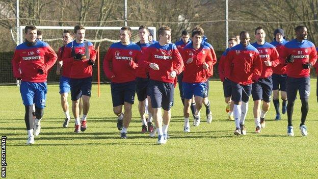 Rangers train at Murray Park on Friday
