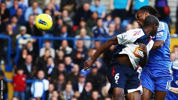 Didier Drogba heads Chelsea's second goal against Bolton
