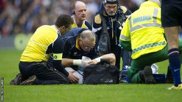 Lamont was stretchered off with Scotland 10-7 down at Murrayfield