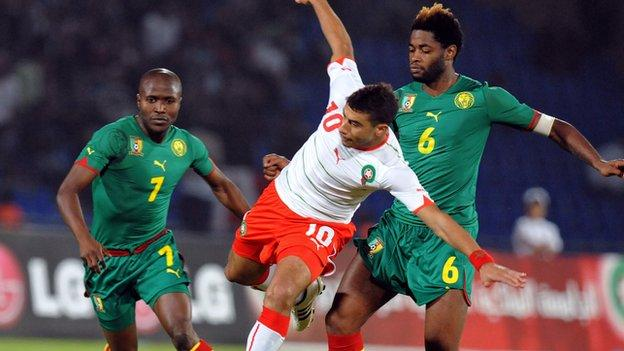 Cameroon in action against Morocco, before they went on strike and refused to travel to Algeria last year