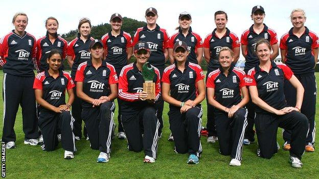 The England squad with the Twenty20 series trophy