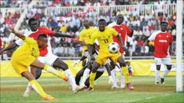 Kenya's Harambee Stars recorded a narrow 2-1 win over Togo (in yellow) on Wednesday