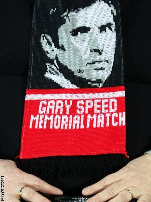 A scarf is seen before the Gary Speed Memorial International Match between Wales and Costa Rica at the Cardiff City Stadium