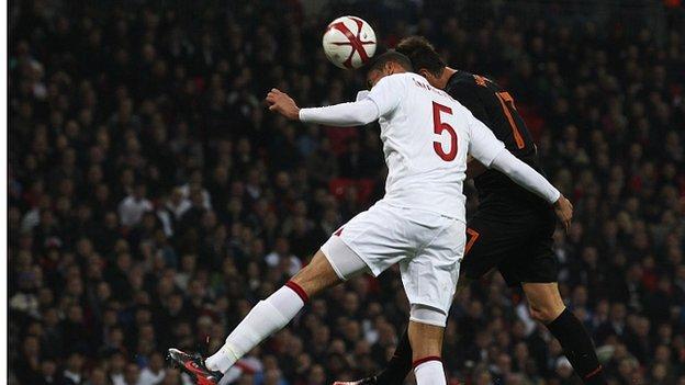 Chris Smalling and Klaas-Jan Huntelaar clashed heads at Wembley