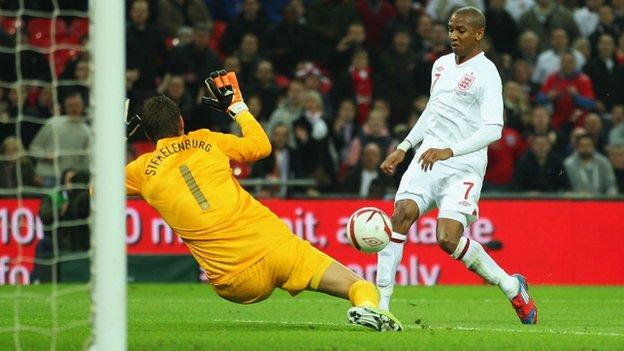 Ashley Young scores for England