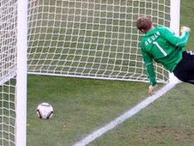 Germany goalkeeper Manuel Neuer watches Frank Lampard's shot go over the goal-line at the 2010 World Cup