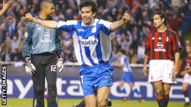 Juan Carlos Valeron scores for Deportivo against AC Milan