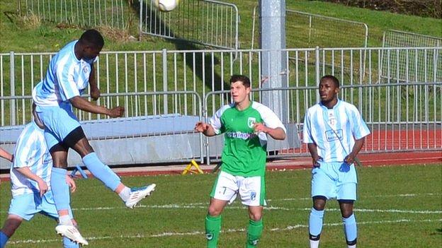 Kieran Mahon looks for the ball as CB Hounslow defend their goal