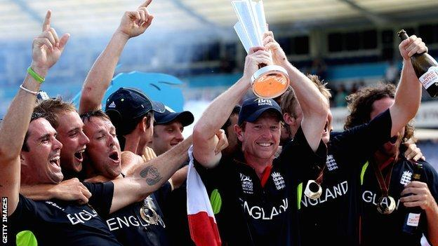 England lift the World Twenty20 trophy in 2010